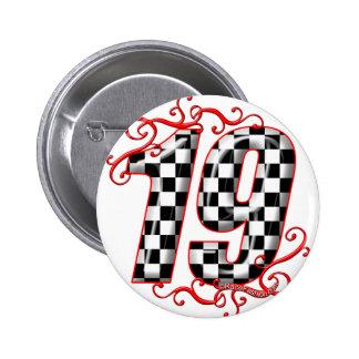 laufende Zahl von 19 Auto Runder Button 5,1 Cm