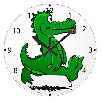 Laufender Alligator Große Wanduhr