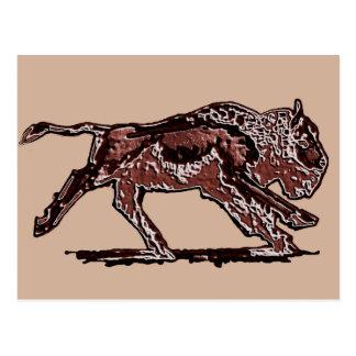 Laufender Büffel-ursprüngliche Kunst-Postkarte Postkarte