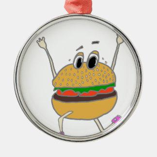 laufender Burger Silbernes Ornament