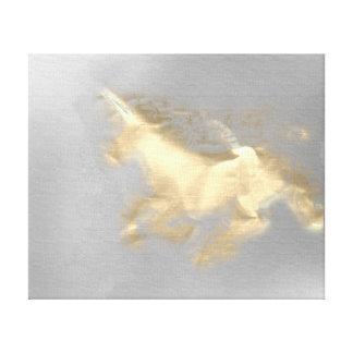 Laufender Einhorn-Pferdegoldsepia-graue Magie 3D Leinwanddruck
