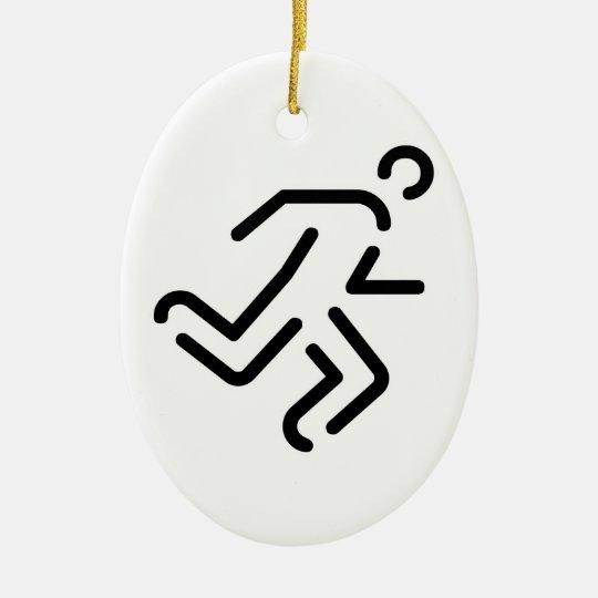 laufender Mann running man Ovales Keramik Ornament