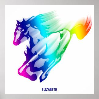 Laufendes Regenbogen-Pferd mit Bewegungs-Spur Poster
