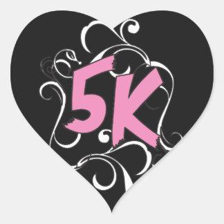 Läufer 5k oder Wanderer Herz-Aufkleber