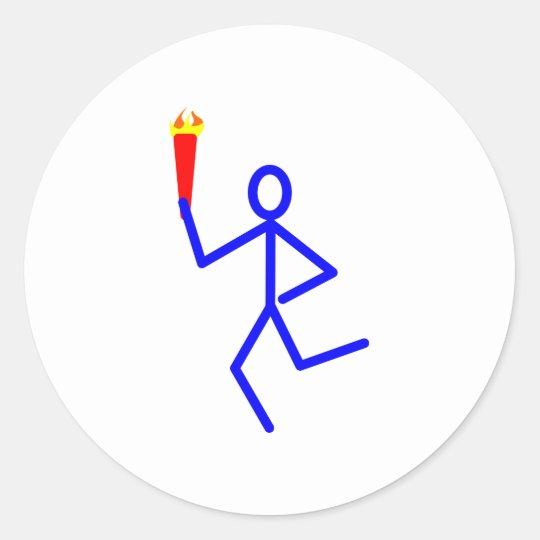 Läufer Fackel runner torch Runder Aufkleber