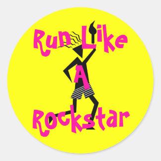Läufer, Lauf wie ein Rockstar Runder Aufkleber