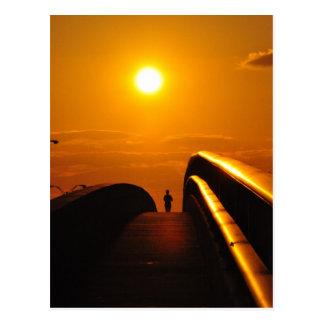 Läufer-Sonnenuntergang-Freuden-Brücke Daytona Post Postkarte