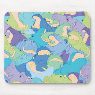 Laughing Hippos - cool colours Mauspad