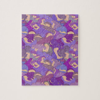 Laughing Hippos - purple Foto Puzzles