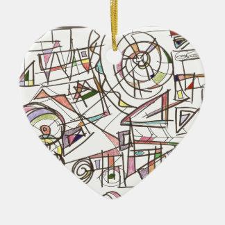 Launisch-Abstrakte Kunst geometrisch Keramik Herz-Ornament