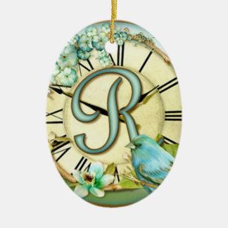 launischer Anfangsbuchstabe R der zeitlosen Keramik Ornament