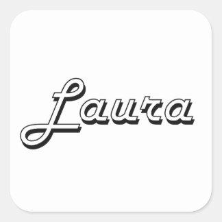 Lauraklassischer Retro Namensentwurf Quadrat-Aufkleber