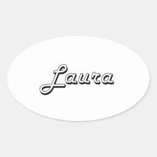 Lauraklassischer Retro Namensentwurf Ovaler Aufkleber