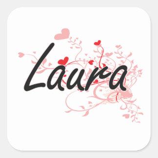 Laurakünstlerischer Namensentwurf mit Herzen Quadrat-Aufkleber