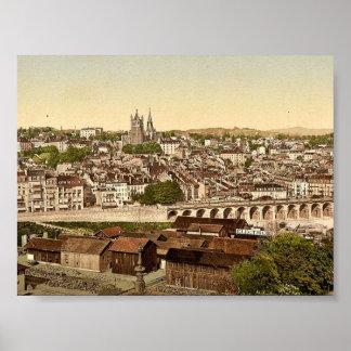 Lausanne, allgemeine Ansicht, Geneva See, die Schw Poster