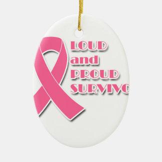 Lauter und stolzer Brustkrebs-Überlebender Keramik Ornament