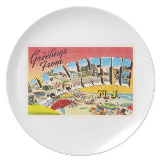 Lavallette New-Jersey NJ Vintage Reise-Postkarte Party Teller