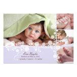 Lavende empfindliche BlumenBaby-Mitteilung auch Personalisierte Einladungskarten