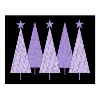 Lavendel-Band-Weihnachtsbäume - General Cancer Postkarte
