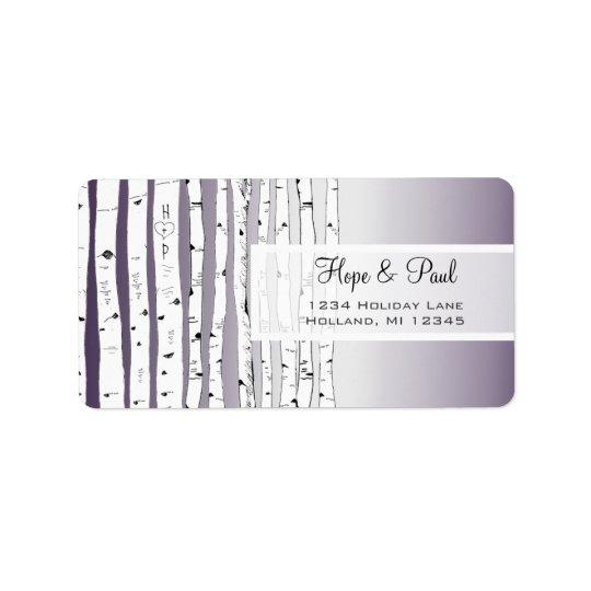 Lavendel-Birken-Baum-Rücksendeadresse-Aufkleber Adressaufkleber