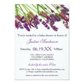 Lavendel-Blumen - Baby-Duschen-Einladung Karte