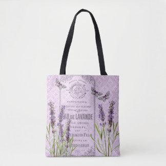 Lavendel-Blumen-französischer Vintager Tasche