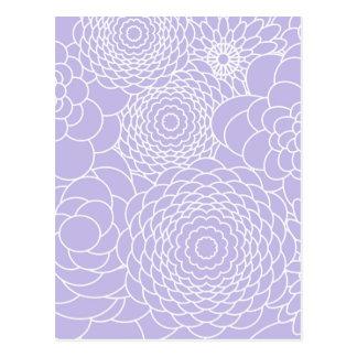 Lavendel-Blumenentwurfs-moderne abstrakte Blumen Postkarte