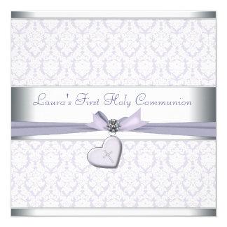 Lavendel-Damast-Kreuz-Mädchen-lila erste Kommunion Quadratische 13,3 Cm Einladungskarte