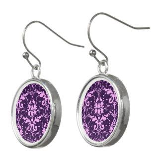 Lavendel-Damast-lila Hintergrund-Tropfen-Ohrringe Ohrringe