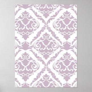 Lavendel, Damast, Muster, trendy, girly, niedlich, Poster