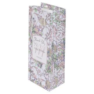 Lavendel-danken Blumendamast-Hochzeit Ihnen Geschenktüte Für Weinflaschen