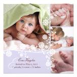 Lavendel-empfindliche BlumenBaby-Mitteilung Ankündigungskarten