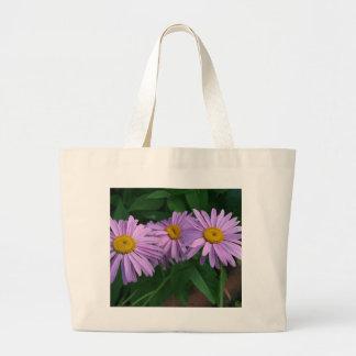Lavendel farbige gemalte Gänseblümchen Jumbo Stoffbeutel
