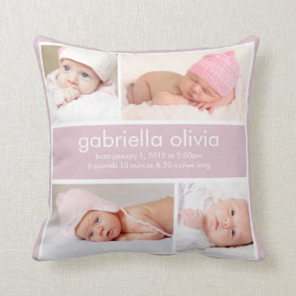 Lavendel-Geburts-Mitteilungs-Wurfs-Kissen Kissen