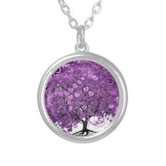 Lavendel-Herz-Blatt-Baum-Hochzeit Halskette Mit Rundem Anhänger