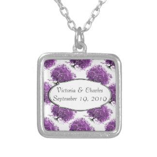Lavendel-Herz-Blatt-Baum-Hochzeit Halskette Mit Quadratischem Anhänger