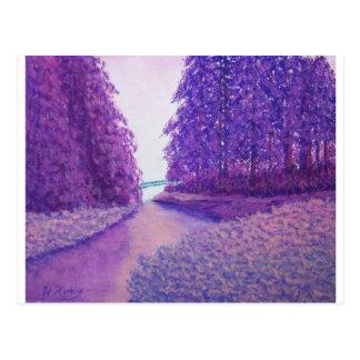Lavendel-Holz Postkarte