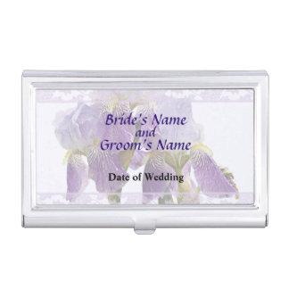 Lavendel-Iris-Paar-Hochzeits-Versorgungen Visitenkarten Etui