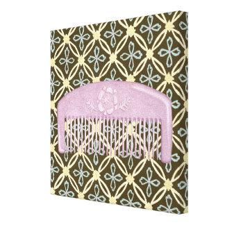 Lavendel-Kamm auf Schokoladen-Hintergrund Leinwanddruck