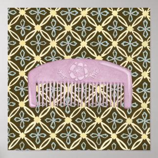 Lavendel-Kamm auf Schokoladen-Hintergrund Poster