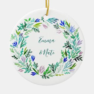 Lavendel-Kranz-Monogramm Keramik Ornament