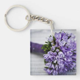 Lavendel-Krokus-Brautblumenstrauß Einseitiger Quadratischer Acryl Schlüsselanhänger
