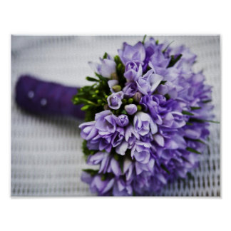 Lavendel-Krokus-Brautblumenstrauß Poster