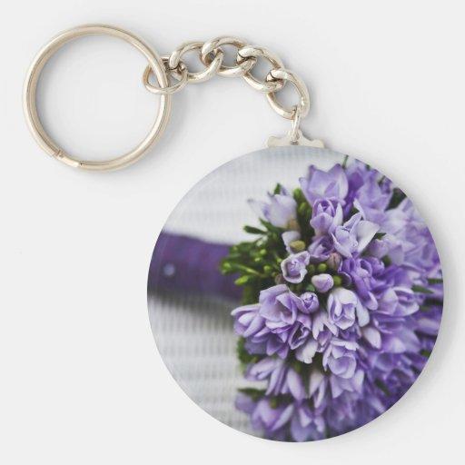 Lavendel-Krokus-Brautblumenstrauß Schlüsselanhänger