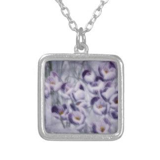 Lavendel-Krokus-Flecken Versilberte Kette