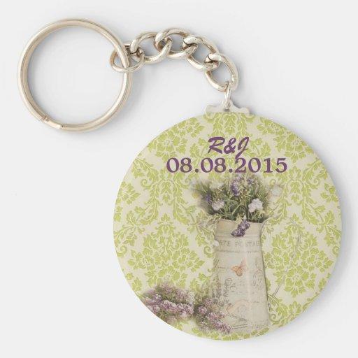 lavendel-Landhochzeit des tadellosen grünen Schlüsselanhänger
