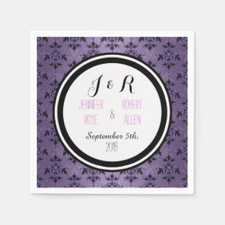 Lavendel-lila Damast-Hochzeits-Servietten Serviette