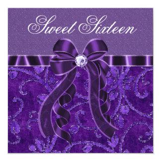 Lavendel-lila Glitter-16. Geburtstag-Geburtstag Quadratische 13,3 Cm Einladungskarte