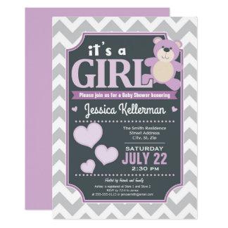 Lavendel-lila Mädchen-Baby-Duschen-Einladung Karte