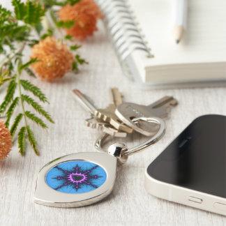 Lavendel lila Mandelbrot Kreuz auf Blau Schlüsselanhänger